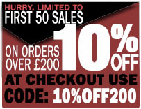 10% off all orders over £200 - Hurry First 100 Sales Only