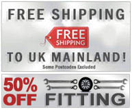 Free Shipping - on all UK mainland orders. Some postcodes excluded. Plus 50% off Fitting